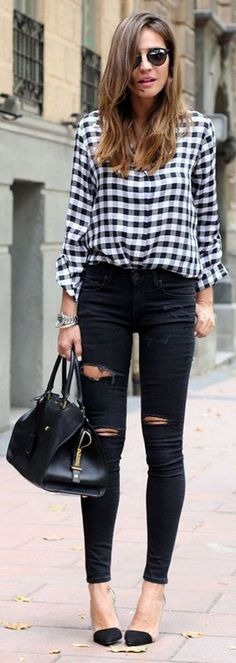 amazing flannel shirt with black skinny outfit idea