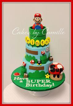 Have a SUPER birthday!! SUPER MARIO cake with fondant Mario.
