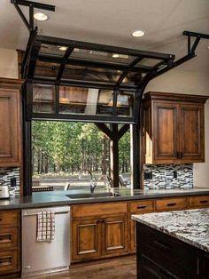 Garage door kitchen window
