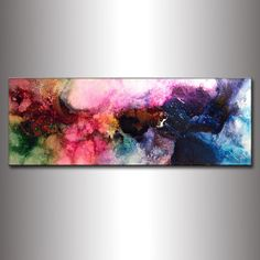 """'IMAGINE' ORIGINAL Modern Abstract Contemporary  Colorful Fine Art Painting on gallery wrapped acid free Canvas w' a high gloss finish - Size: 48"""" x 18"""" x 1.58""""  by artist Henry Parsinia 'newwaveartgallery' Etsy<3<3"""