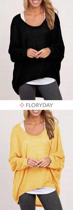 Cotton Round Neckline Solid Loose Underwear Sweaters Item Code: 1114578 US$ 19.99