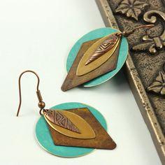 Southwestern Jewelry Earrings Teal Blue Gold Brass Patina Mixed Metal Boho Jewelry #boho #jewelry #southwestern #brigteam