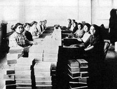 LABOR: Mexican cigar rollers at Kohlberg Cigar Factory. El Paso 1915 | January, 1917 Hundreds of Mexican workers block traffic on the bridge between Juarez and El Paso to protest the quarantine policy of the immigration service to forcibly bath and disinfect women who crossed into El Paso to work cleaning the homes of Americans.