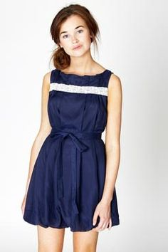 Navy dress with crochet detail for $32