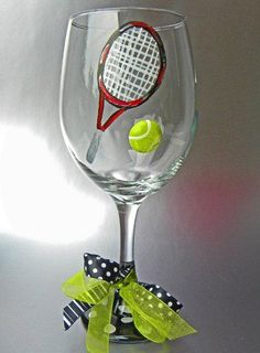 Image detail for -Tennis Hand Painted Wine Glasses | Unique Wine Glasses