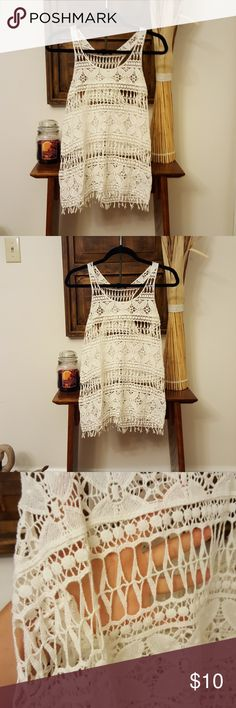 Crochet tank top Brand new! Would go great with a bralette, cami and jeans! Tops