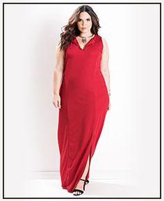 Vestido Longo com Fenda Vermelho Plus Size