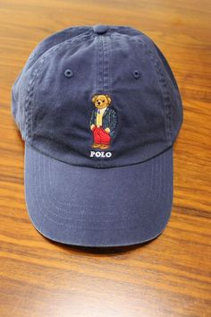 6af40f2d320 Polo Ralph Lauren Men Blue Polo Bear chino BaseBall Cap hat One size