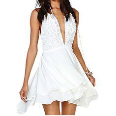 Sexy V-neck lace halter dress #WE32406PO