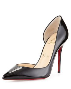 Iriza Patent Half-d\'Orsay 100mm Red Sole Pump, Black by Christian Louboutin at Neiman Marcus.