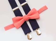 Toddler Coral Bow Tie And Navy Blue Suspenders Christmas Outfit Boy Ring Bearer Outfit Boys Bow Ties Wedding Coral Bowtie Birthday Outfit