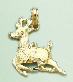 Amazon.com: 14k Gold Holiday Necklace Charm Pendant, Christmas Reindeer: Million Charms: Jewelry