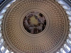 Inside dome of the U.S. Capitol Building in Washington D.C. - www.TourGuideToFun.com #uscapitol #capitolhill #capitolbuilding #washingtondc