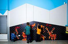 Murray Bridge Library in Murray Bridge, Australia Interactive Exhibition, Interactive Walls, Exhibition Ideas, Kids Cafe, Kindergarten Design, Artistic Installation, Library Design, Children's Library, Design Strategy