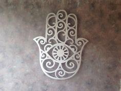 Hamsa Amulet Large Metal Wall Art - Hand of Fatima - Protection - Healing Amulet - Hamsa Symbol - Metal Art - Home Decor - Art