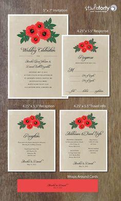 Poppies Wedding Invitation Suite Printable by studiofortydesign, $45.00