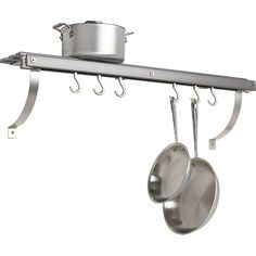 "J.K. Adams Grey Wall Mounted Pot Rack | Crate and Barrel $139.95. I wonder if this would fit above my sink over the window. My pans are pretty enough to display, and then I could use the cupboard space for something else...Width: 36"" Depth: 8"" Height: 11"""