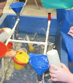 Leaky Pipes water play, TONS of sensory table ideas at this site