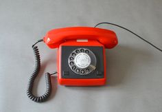 Vintage phone telephone East German lipstick red by MightyVintage