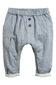 Double-weave cotton trousers - Blue marl - | H&M GB 1