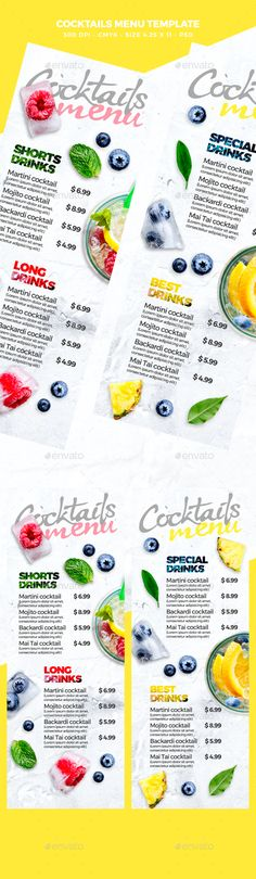 Cocktail Drinks Menu — Photoshop PSD #4.25x11 #mojito • Download ➝ https://graphicriver.net/item/cocktail-drinks-menu/20352872?ref=pxcr
