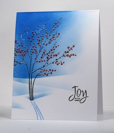 Winter Berries:  stamp with Versamark and then offset with Versamark & markers, then clear embossed
