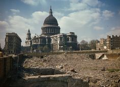 The bomb damaged areas around St Paul's Cathedral.(A collection of very rare colour photographs of life in London and across the UK during the Blitz have been released to celebrate the anniversary of the Battle of Britain. London Pictures, London Photos, Ww2 Pictures, London Bombings, London History, British History, Asian History, Tudor History, European History