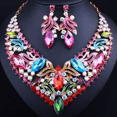 New Promotion Gold plated Crystal Necklace Earrings for Women Wedding Party Fashion Bridal Jewelry sets