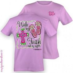 Simply Southern Funny Walk By Faith Cross Girlie Bright T Shirt | SimplyCuteTees