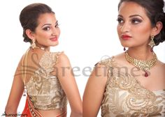 Riiti Fashions- Designer one shoulder gold blouse, embroidered, featured on sareetimes .com