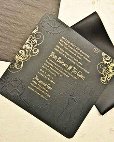 Metallic ink on black embossed paper for this steampunk, industrial, and Victorian themed wedding. #wedding #denverwedding #weddinginvitations
