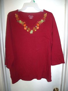 Kim Rogers Woman Burgundy Embroidered Fall Leaves Sequins 3/4 Sleeve Top 2X #KimRogers #Blouse