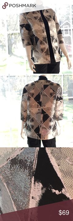 NEW ANNE KLEIN Star Wars -y holiday bling jacket S Totally the space age look with class, designer style and just enough metallic bling to make a statement. Perfect for holiday parties, especially New Year's Day! Size 4, modeled on a size 4/6 mannequin. Boxy shape. Very equinox and winter ice looking. Fully lined, 3/4 length sleeves. Colors are gray, silver, and black. Retail $169. LC0550. NOTE! rosy color reflection is from hardwood floor. This blazer will always appear to change color…