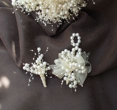 Wedding corsage pearl corsage corsage with pearls by UptownGirlzz