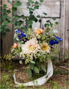 Gorgeous mountain wildflower bouquet at a summer wedding in the mountains of Colorado. - April O'Hare Photography http://www.apriloharephotography.com