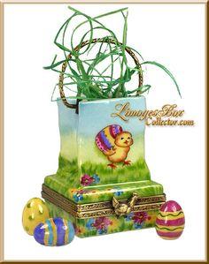 Easter Egg-Hunt Bag w Eggs (Beauchamp) Limoges Box.