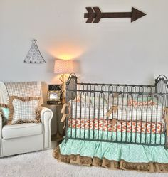 Orange and Grey Arrowhead, Mint Aztec, Burlap, Ivory with Gold Arrows, and Tan Plaid Crib Bedding Crib Bedding Boy, Linen Bedding, Bed Linen, Best Thread Count, Orange Bedding, Baby Design, Bed Spreads, Luxury Bedding, Bed Sheets