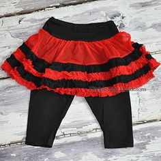 Black & Red Leggings w/ Attached Skirt