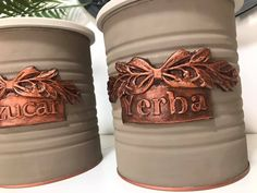 Aluminum Can Crafts, Tin Can Crafts, Bottle Crafts, Flower Pots, Mixed Media, Gisele, Canning, Tins, Metal