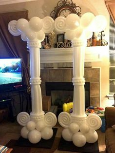 Greek Party Decorations, Wedding Balloon Decorations, Balloon Centerpieces, Wedding Balloons, Wedding Decor, Balloon Pillars, Balloon Arch, Balloon Garland, Balloon Flowers