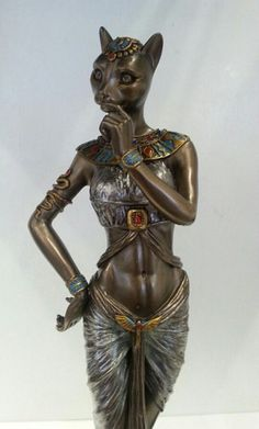 Egyptian Statue Cat Goddess Bast Bastet with Panther Familiar Bastet Goddess, Egyptian Cat Goddess, Egyptian Mythology, Ancient Egyptian Art, Egypt Concept Art, Cat Statue, Muse Art, Religion, Gods And Goddesses