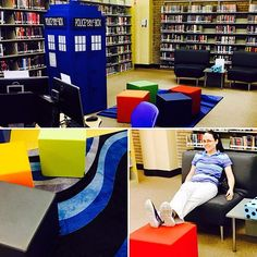 We're continuing to change things up in the #TeenArea with brighter colors, fun furniture, computers, and even a #tardis.  Creating fun spaces for local #teens to enjoy, #read, #lounge and #socialize. #AbilenePublicLibrary #FunSpace ##Teenagers #Lounging #Internet #DoctorWho #Bright