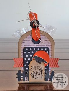 Projects by Sarah Gough. Reverse Confetti stamp sets: Cast a Spell and Spooky Cuties. Confetti Cuts: Pretty Panels Stars, Tag Me, Let's Chill (tombstone), Fresh 'n Fruity (moon) and Tagged Tote. Halloween treat. Halloween gifts.