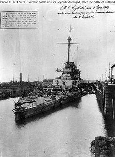 Wilhelmshaven, 6. Juni 1916, in der Skagerrakschlacht beschädigte S.M.S Seydlitz