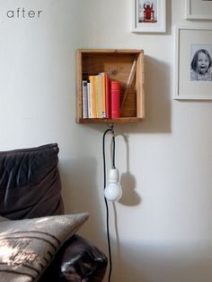 Tiny bedroom idea for nightstands - convert a drawer into a floating nightstand! Love how she strung a light through the drawer pull. Very industrial-chic!
