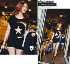 Stylish Paillette Moon Star Pattern Loose T-Shirt Black - $15.08 on @ClozetteCo