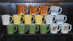 16 Vintage Fire King D Handle Coffee Mugs Cups 3 7/8