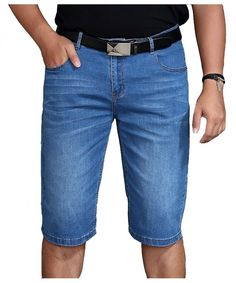 1fb2d9d013f4 Men s Light Blue Stylish Casual Relaxed Fit Stretch Denim Jean Short Plus  Size Big And Tall - CO182T0GAO3