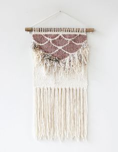Pink Fringe Scallops Weaving Woven Wall Hanging
