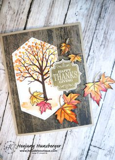 Sheltering Tree Thanks Giving Card handmade card Christmas Cards To Make, Holiday Cards, Leaf Cards, Stampinup, Stamping Up Cards, Thanksgiving Cards, Scrapbooking, Fall Cards, Card Sketches